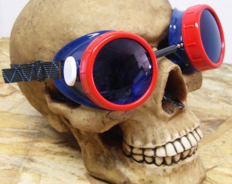 Red White Blue Patriotic STEAMPUNK Cyber Welders Goggles