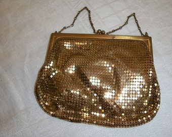 Vintage Antique Gorgeous Whiting and Davis Small Gold Mesh Purse