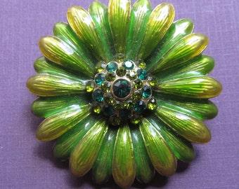 Monet Green Yellow Enamel Vintage Flower Brooch Rhinestone Pin
