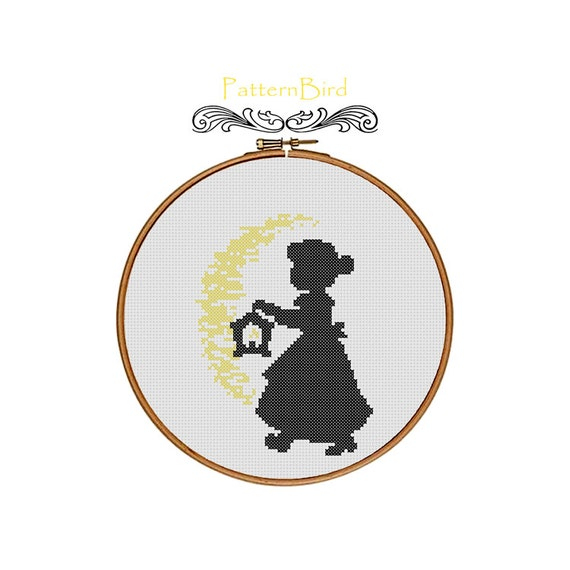 Silhouette of Little Girl With Lantern. Instant Download PDF Cross Stitch Pattern