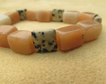 Creativity, Healing Stones Bracelet, Dalmation Stone, Orange-red-peach-Aventurine and Quartz, Stretchy Gemstone Synergy Bracelet