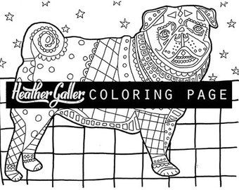 PUG Coloring Book Adult Pages