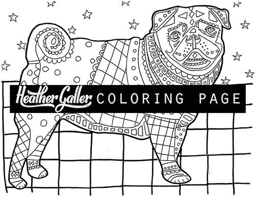 Pug coloring coloring book adult coloring book by for Pug coloring pages to print
