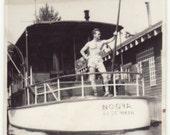 """Digital Download Vintage  Photograph 1940s Man on boat  """"Nooya Ketchiman"""" 2"""" x 3"""""""