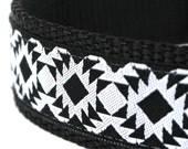 Tribal Dog Collar, 1 inch width, Big Dog Collar, Black and White, Southwest Pet Collar