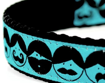 Beards and Mustache Dog Collar, Hipster Pet Collar, Teal Blue