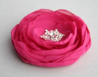 Handmande Pink Flower Hair Clip, Bridesmaid Hair Flower, Fuschia Flowers For Hair, Wedding Accessory, Hot Pink Flower, Flower Girl Accessory
