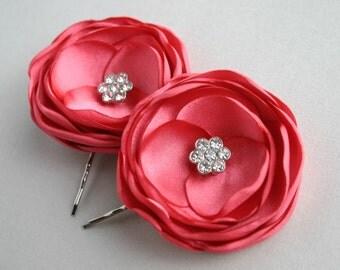 Coral Flower Hair Clips, Peach Flower Hair Pins, Coral Bridesmaid Accessory, Flower Girl Hairpiece, Floral Hair pieces, Floral Bridal Piece