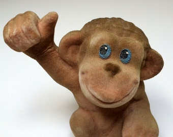 Vintage Russian flocking toy MONKEY from Soviet Unions 70s