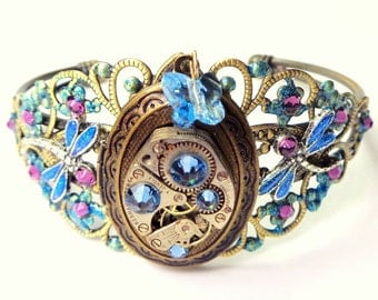 Steampunk Locket Bracelet,Dragonfly Cuff,Ruby Jeweled Watch Movement,Blue Swarovski Crystals,Neo Victorian,Vintage Style,Steam Punk Cuff
