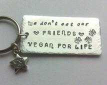 Vegan keyring | Vegan gift | Vegan jewellery | Gift for vegan | Vegan life | Vegetarian | Love Animals gift | Meat free life | Vegan choice