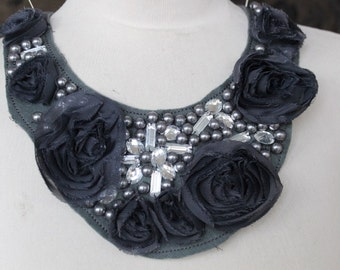 Cute embroidered  and  beaded applique  with chiffon flowers and rhinestones