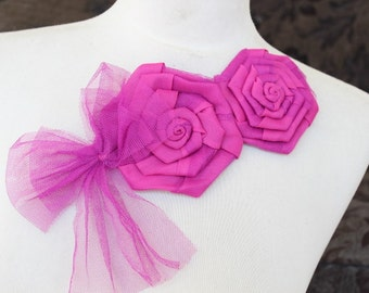 Cute    embroidered   flowers applique hot pink color 1 pieces listing