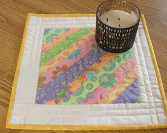 Summer Flowers Patchwork Quilted Table Topper