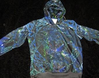 Space Hoodie Mens Pullover Cosmic Cyberpunk Fractal art