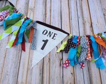Fabric High Chair Banner Birthday Decoration Bunting Flags Rag Tie Garland First Birthday Decoration Flags High Chair Bunting