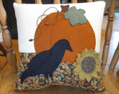Autumn Splendor... Pumpkin,Crow, 3D Sunflower Pillow