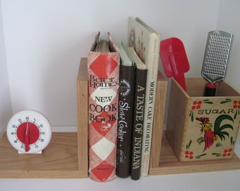 KITCHEN BOOKENDS - Upcycled Vintage Timer and Sugar Canister - RED Kitchen Decor