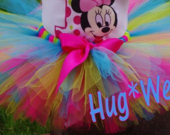 Multi color Minnie tutu in Hot pink, Lime and turq (Tutu only)
