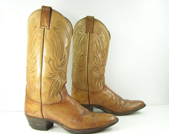 Justin cowboy boots womens 10 M light brown leather western men's 8.5 D