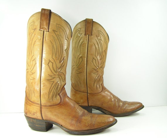 justin cowboy boots womens 10 m light brown leather western