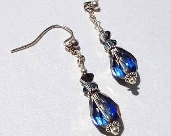 Earrings, Purple Dangle Earrings, Crystal Earrings, Swarovski Night Life