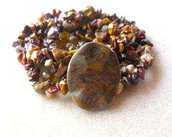 Bamboo Jasper Gemstone Pendant, Mookite gemstone Beads, Chip Beads, Glass Beads, Craft Supplies, DIY Jewelry Kit, Beads for  Jewelry Making