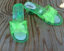 Lime Green Jelly Sandals 80s to 90s Vintage Chunky Heel Open Toe Plastic Slides Slip On Shoes 7 M Women