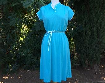 Casual Turquoise Blue Summer Dress Short Cap Sleeve Midi T Shirt Dress A Line Medium Large Women