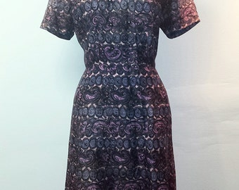 Vintage 1950s Wiggle Dress - Mixed Purples and Pinks