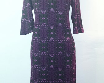 Vintage 1960s Pink Purple and Dark Green Dress