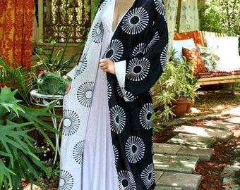 100% Cotton Kimono Robe Reversible Black and White Exclusive Block Print Limited Edition Lingerie Sleepwear Bridal Lingerie Indian Summer