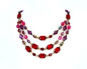 ROBERT ROSE Necklace Signed Designer Ruby Red Garnet Triple Multi Strand Costume Jewelry Beaded Gothic Lolita Bib