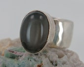 Black Moonstone Ring in Sterling Silver Wide Band, Size 7