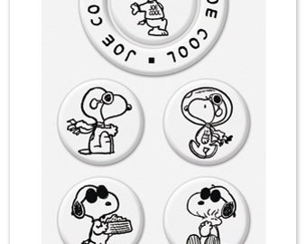 Peanuts Joe Cool Snoopy Stamps - Switchable Middle Stamps, Clear Stamps, Poker Player, Astronaut, Flying Ace, Weightlifter, Detective