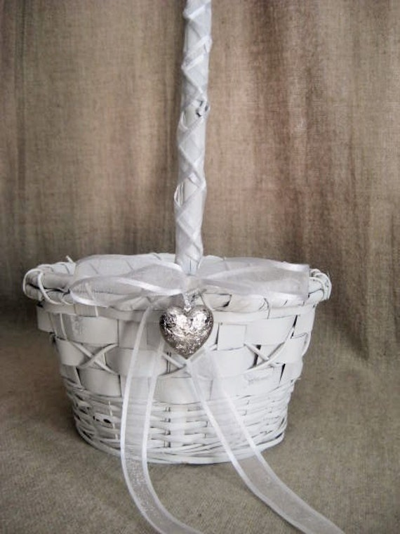 Sweet, Simple White Flower Girl Basket / Sweetheart Basket for Wedding or Reception
