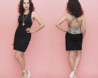 Vintage 90s Bodycon Mini Dress // Leopard Print Dress // Fringe Dress // Black Mini Dress // Club Kid  // Hip Hop // Medium