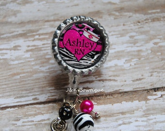 CUSTOM Name Badge reel - Zebra print and hot pink with heart