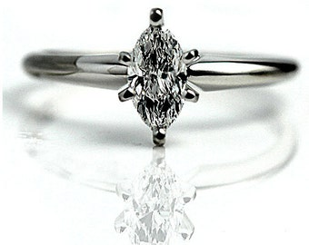 Marquis Diamond Ring GIA .50ctw Vintage Marquise Engagement Ring 14 K White Gold Solitaire Engagement Ring Wedding Ring Marquise Ring!