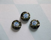 Vintage Decal Picture Stones - Blue Rose on Black Cameo -  8mm Round Glass Cabochons - Qty 6