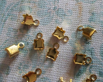 Gold Plated Rhinestone Chain Connectors Crimps 5mm Size for 4mm Size Chain - Qty 10