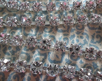 6mm Clear Rhinestone Chain - Silver Plated Setting - Crystal Clear Czech Crystals - Large Crystal Size 29SS