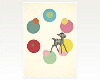 Deer Art, Nursery Art, Kitsch, Pop Art, Childrens Decor, Kids Room, Retro - Go Bambi