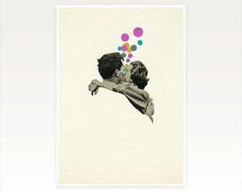 Kiss Art, Geometric Print, Romantic Love Wall Art - First Kiss