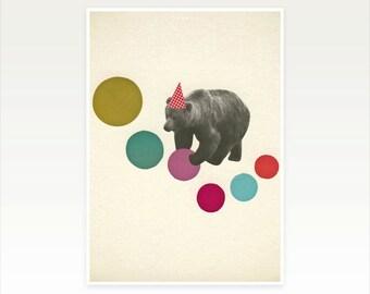 Whimsical Childrens Art - Birthday Bear