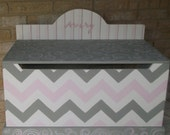 Kids Benches Toy Boxes Kids and Baby Toy Chest PINK Gray Chevron  Baby Nursery Bench Toy Box HOPE Chest Toy Bin Toy Storage Custom Kids
