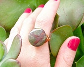 RING - Wrapped in Copper Wire - Made to order in any size - 20 mm Round, Dragon Blood Jasper, Semi-precious Gemstone Ring - Wire Wrapped