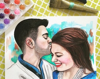 Custom Couples watercolor portraits