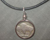 Authentic 1936 Southwest Buffalo Nickel Bezel Set Pendant Necklace