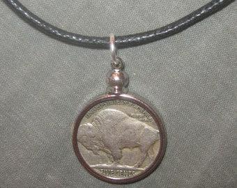 Authentic 1936 Southwest Buffalo Nickel Bezel Set Pendant Necklace